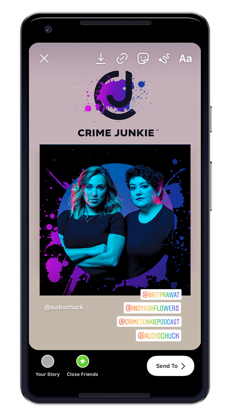 Smarthpone with photo of Ash and Brit with Crime Junkie sticker